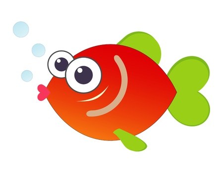 underwater fishes: Funny cartoon fish - color illustration.