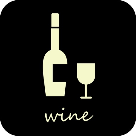 Bottle of wine and wine glass - isolated vector icon. White image on black background.  Vector