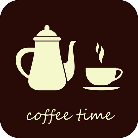 coffee pot: Coffee Time - isolated vector illustration. Coffee pot and cup of hot coffee on dark brown background.