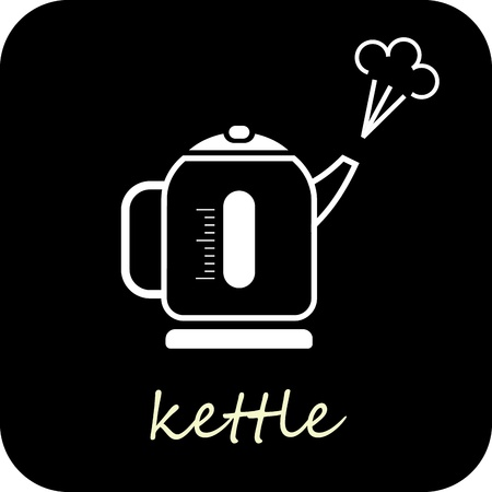 kettle: Boiling kettle - isolated vector icon on black background.