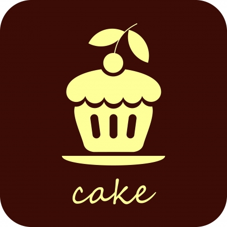 Sweet Cake with cherry - isolated vector icon on dark brown background.