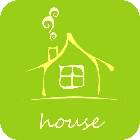 вал: Green House - изолированные значок вектора на зеленом фоне. Дизайн элементов. Уютный дом.