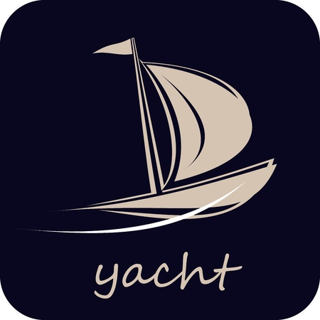 yacht isolated: Sailing boat. Isolated icon on dark blue background. Yacht that sails on the waves. Stylized image of the floating boats.