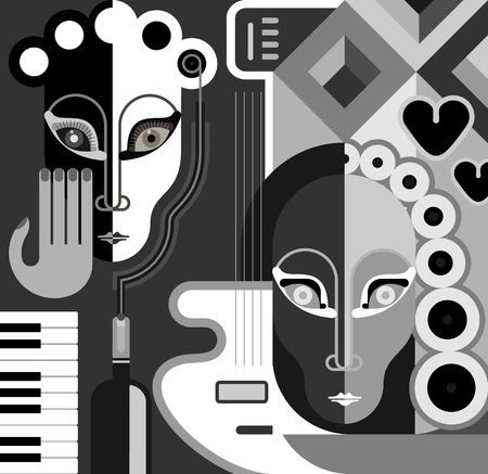 black piano: Musical Party - abstract illustration. Black and white stylized collage. Fine art.