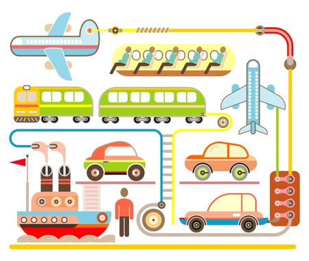 Holiday Travel and Transport - color illustration. Airplane, Train, Ship and Cars. Vector