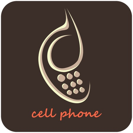 Cell Phone - isolated vector icon. Stylized image of mobile phone on grey background. Can be used as a company logo or as design element for section with contact information.  Vector