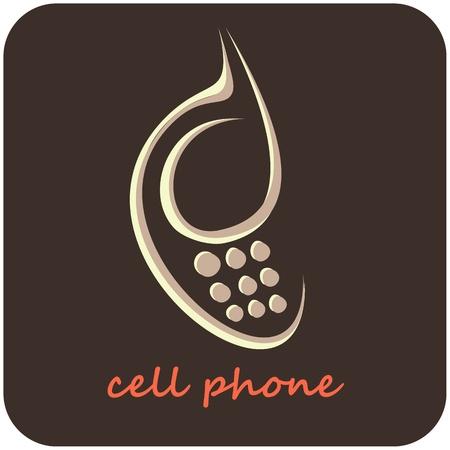 Téléphone portable - icône vecteur isolé. L'image stylisée de téléphone mobile sur fond gris. Peut être utilisé comme un logo d'entreprise ou comme élément de design pour la section avec les informations de contact.