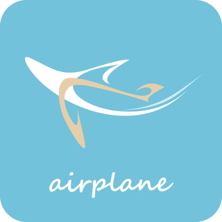 Airplane - outline stylized icon. Isolated vector illustration om blue background. Can be used as logotype for your company.