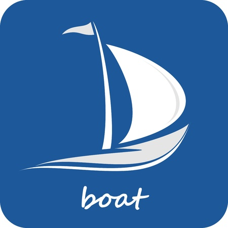 Sailing boat. White sailboat on the blue water. Yacht that sails on the waves. Stylized vector image of the floating boats with blue sails. Can be used as logotype of yacht club, marine club, hotel, etc. Vector