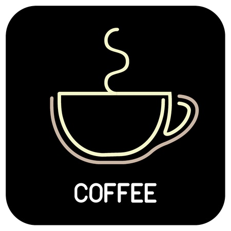 french cafe: Coffee - vector icon. Isolated outline on black background.