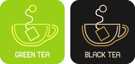Tea of Green Tea and Tea of Black Tea - isolated vector icons. Vector