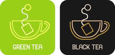 milk tea: Tea of Green Tea and Tea of Black Tea - isolated vector icons.