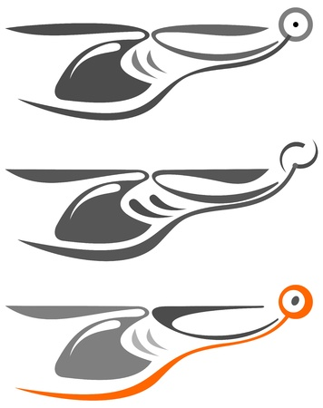 Helicopter - isolated vector icon on white background.Tattoo sketch. Can be used as logo (logotype).