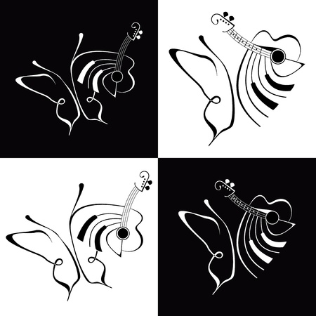 instrumental: Music and Butterfly - abstract vector lineart. Black and white illustration. Fine art.