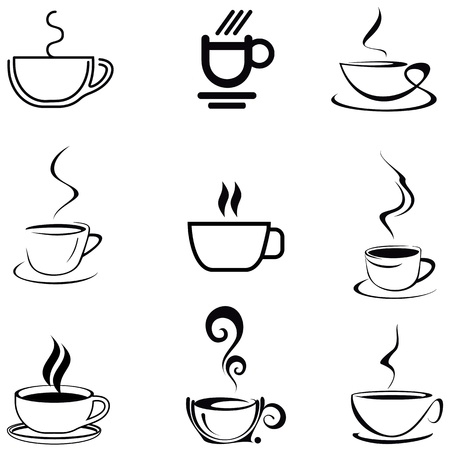 arabica: Cups of Coffee - set of isolated vector icons. On white background. Lineart, line work.