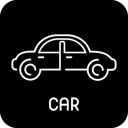 Car - vector icon on black background. Isolated button. Outline. Design elements. Can be used as logotype (logo) for car company. Vector