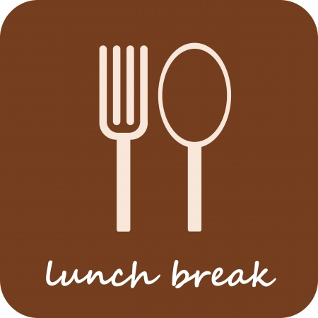 lunch break: Lunch Break - isolated vector icon on light-brown background.