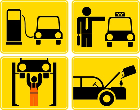 A set of isolated vector icons for car service or fuel station. Yellow and black signs. Vector
