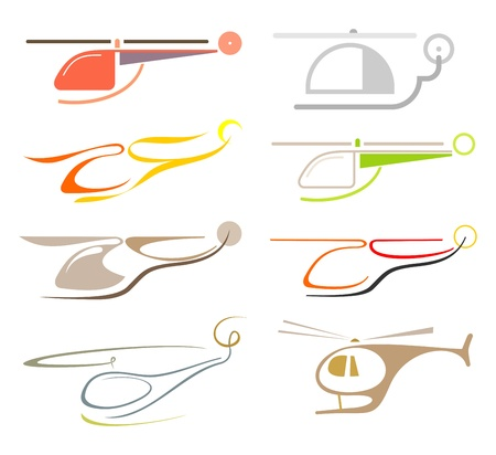 helicopters: Helicopter - set of isolated vector icon. Stylized color images, design elements.