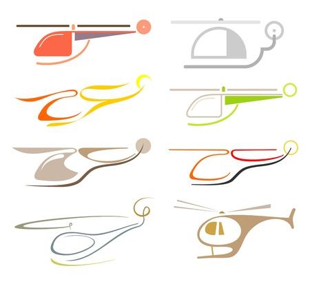 Helicopter - set van geïsoleerde vector pictogram. Gestileerde afbeeldingen in kleur, design elementen.