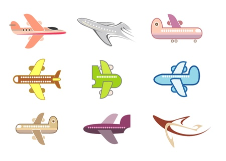 airway: Airplanes - set of isolated vector icons on white background. Stylized color images, design elements.