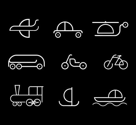 Modalità di trasporto - set di icone vettoriali isolato su sfondo nero.