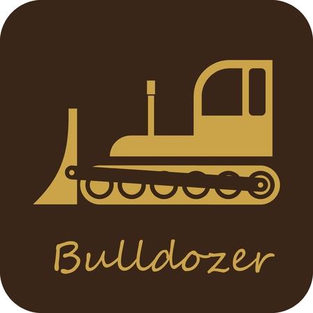 Bulldozer - isolated vector icon.  Vector
