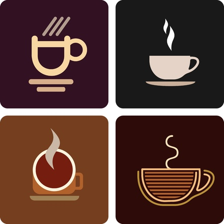 Coffee cup - set of isolated vector icons.  Vector