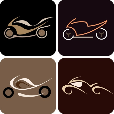 Motorcycles - set of color vector illustration. Isolated icons. Can be used as logotype (logo). Vector