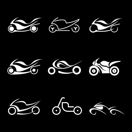 Motorcycles - set of isolated vector icons on black background. Vector