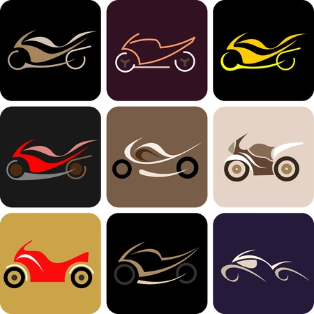 variants: Motorcycles - set of isolated vector icons. Nine different variants.
