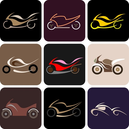 Motorcycles - set of isolated vector icons. Nine different variants. Vector
