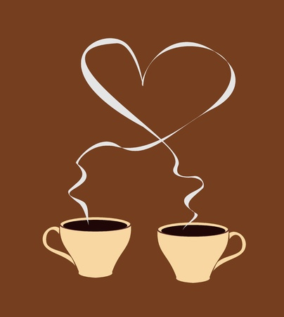 A cup of coffee that has steam forming a heart shape. Isolated on brown background - vector illustration Vector