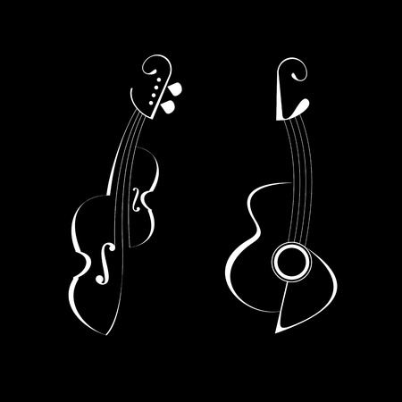 String musical instruments - Guitar and Violin. Isolated vector icons on black background.  Vector