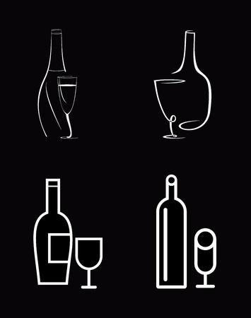 bocal: Bottiglia di vino e bicchiere di vino - icona vettoriale isolato. Scritta bianca su sfondo nero. Linea arte, lavoro line.