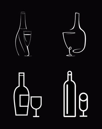 Bottle of wine and wineglass - isolated vector icon. White image on black background. Line art, line work. Vector