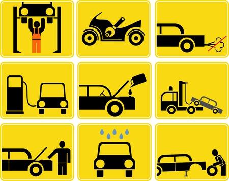 Auto en Motor service - set van geïsoleerde vector iconen. Geel / zwarte borden. Benzinestation, banden en motor olie verversen, car wash. Motor inspectie.