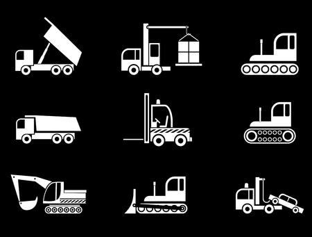 Heavy Machines - set of isolated vector icons on black background.  Vector