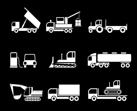 Machines, Heavy Trucks - set of isolated vector icons on black background. Transportation symbols.  Vector