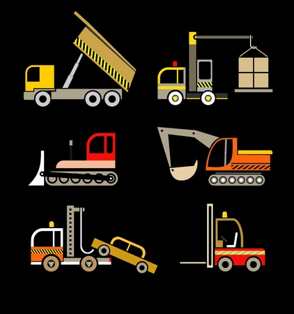 dump truck: Construction Vehicles - set of isolated icons on black.