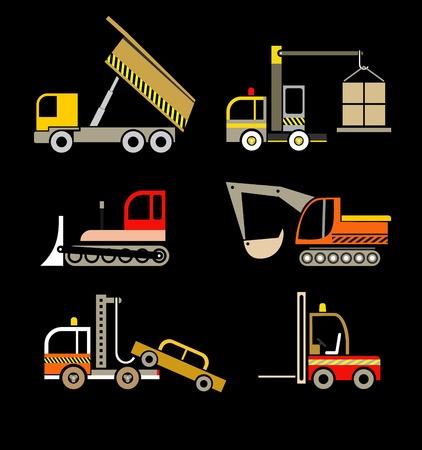 Véhicules de construction - ensemble d'icônes isolés sur fond noir.