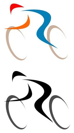 Wielrenner - geïsoleerde pictogram op wit. Lijntekeningen, lijn werk. Stockfoto - 11877778
