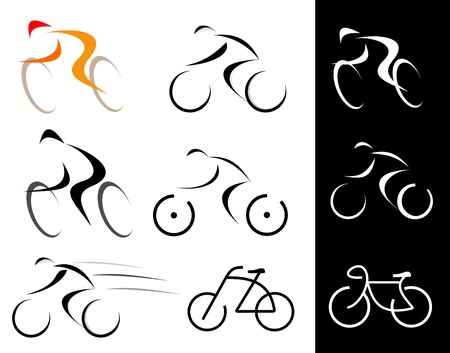 Racing cyclist. Bicyclist. Set of isolated icons. Line art, line work.  Vector
