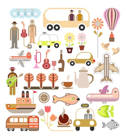Travel - illustration. Collage, set of icons. Vector