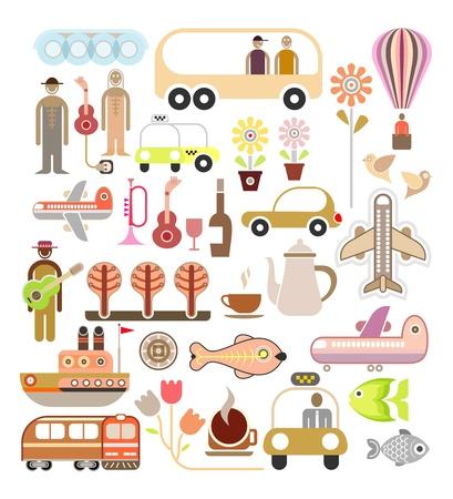 Voyage - illustration. Collage, ensemble d'icônes. Banque d'images - 12433168