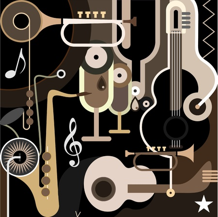 Music Background - color illustration. Abstract collage with musical instruments - guitar, sax and trumpet. Vector