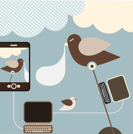visualizing: Social Network - illustration. Concept illustration visualizing a social networking.  Illustration