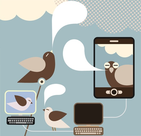 newsfeed: Social Network - illustration. Concept illustration visualizing a social networking.