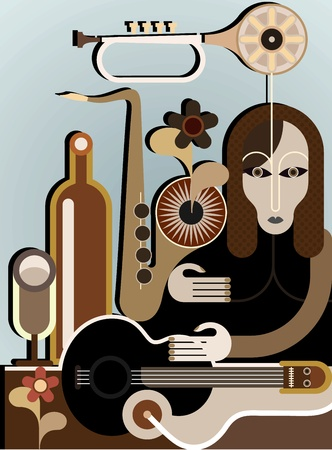 Woman with musical instruments - illustration background. Abstract art application.  Vector