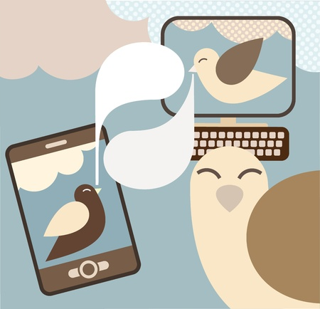 social networking: Social Network - illustrazione. Concetto illustrazione visualizzare un social network. Vettoriali